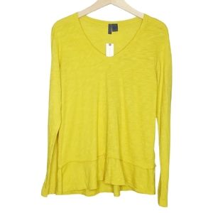 Anthro Left of Center Slub Knit Peplum Tee Shirt